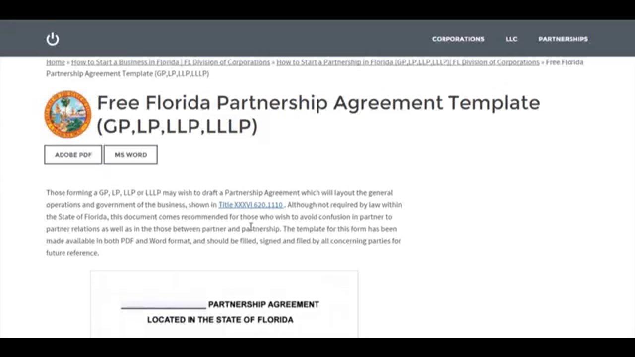 Free Florida Partnership Agreement Template GPLPLLPLLLP YouTube - Website partnership agreement template