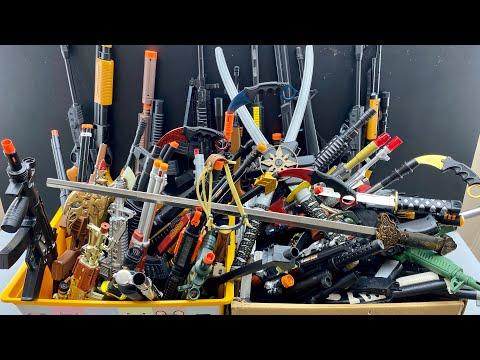 Toy Guns Boxes !!! Hundreds of Weapons and Ammunition! Sharp Karambit Knives, Samurai Swords |