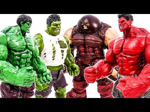 HULK SMASH~ Double Green Hulk Vs Red Hulk & Juggernaut #Toymarvel
