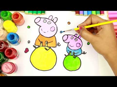 PEPPA PIG Colouring Book Pages Kids Fun Art Activities Videos For Children Learning Rainbow Colors