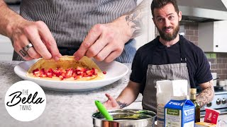 Chef Artem makes YUMMY Strawberry Blinis for Matteo!