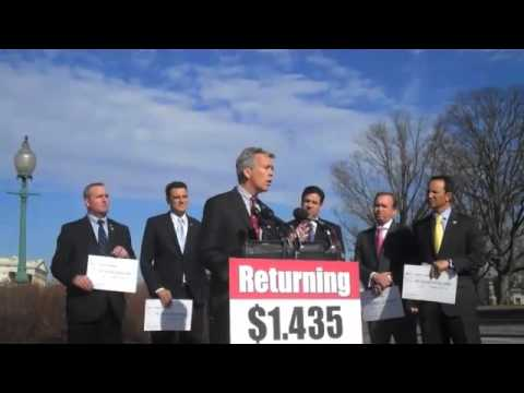 Rep. Walsh Returns Personal Budget Funds to U.S. Treasury