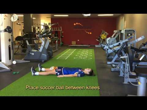 FOOTBALL PREHAB SOCCERBALL GROIN SQUEEZES STRAIGHT LEGS