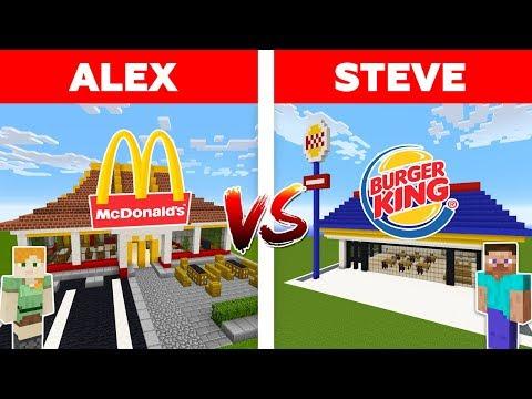Minecraft McDONALDS vs BURGER KING / Alex vs Steve minecraft animation thumbnail
