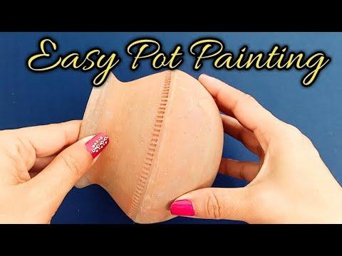 How to paint and decorate a pot /DIY pot painting tutorial at home -Shamina's DIY