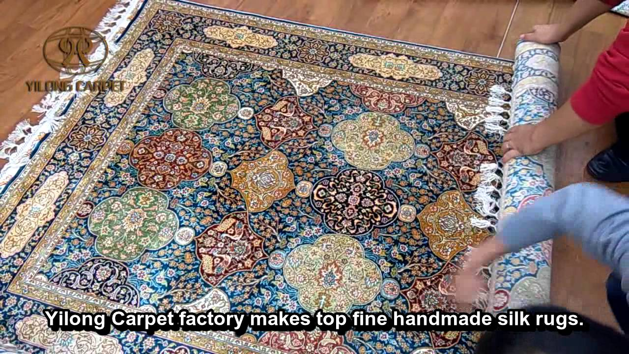 Turkish Rug Packing--How to Pack Turkish Silk Carpets & Rugs in Yilong Carpet Factory - YouTube