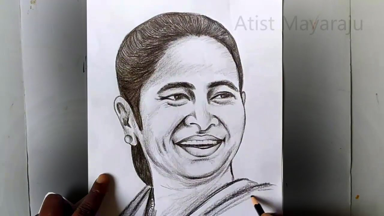 How to Draw Mamata Banerjee Pencil Sketch / Chief Minister of West Bengal Mamata Banerjee Drawing