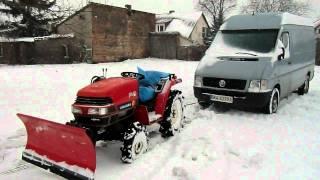 Yanmar F-6 mini traktorek - ciągnik  do odśnieżania.Holowanie lteka. www.akant-ogrody.pl