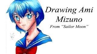 """Drawing Ami Mizuno from """"Sailor Moon"""""""