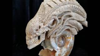 Arrival of The Alien - Chamber Ammonite Fossil Carved Crystal Skull Sculpture