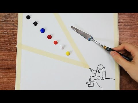 Spaceman Looking for Earth|Acrylic Painting on Canvas Step by Step #367|Satisfying Masking Tape ASMR