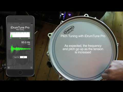 "Drum tuning with iDrumTune Pro drum tuner app - pitch range of 13"" tom drum"