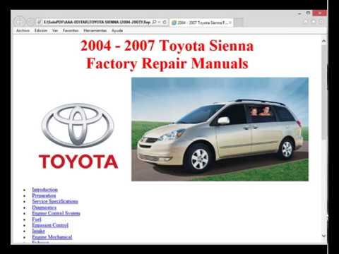 toyota sienna 2004 2007 workshop repair service manual youtube rh youtube com 2006 toyota sienna shop manual 2006 toyota sienna owners manual free download