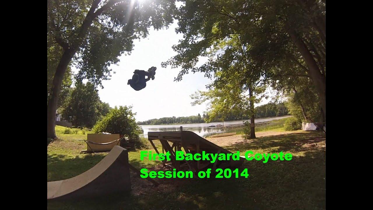 first backyard mini mega ramp session youtube