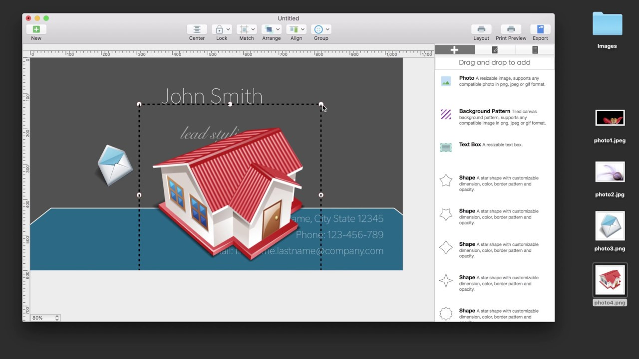 Create your own business cards on a Mac: How to add photos to ...