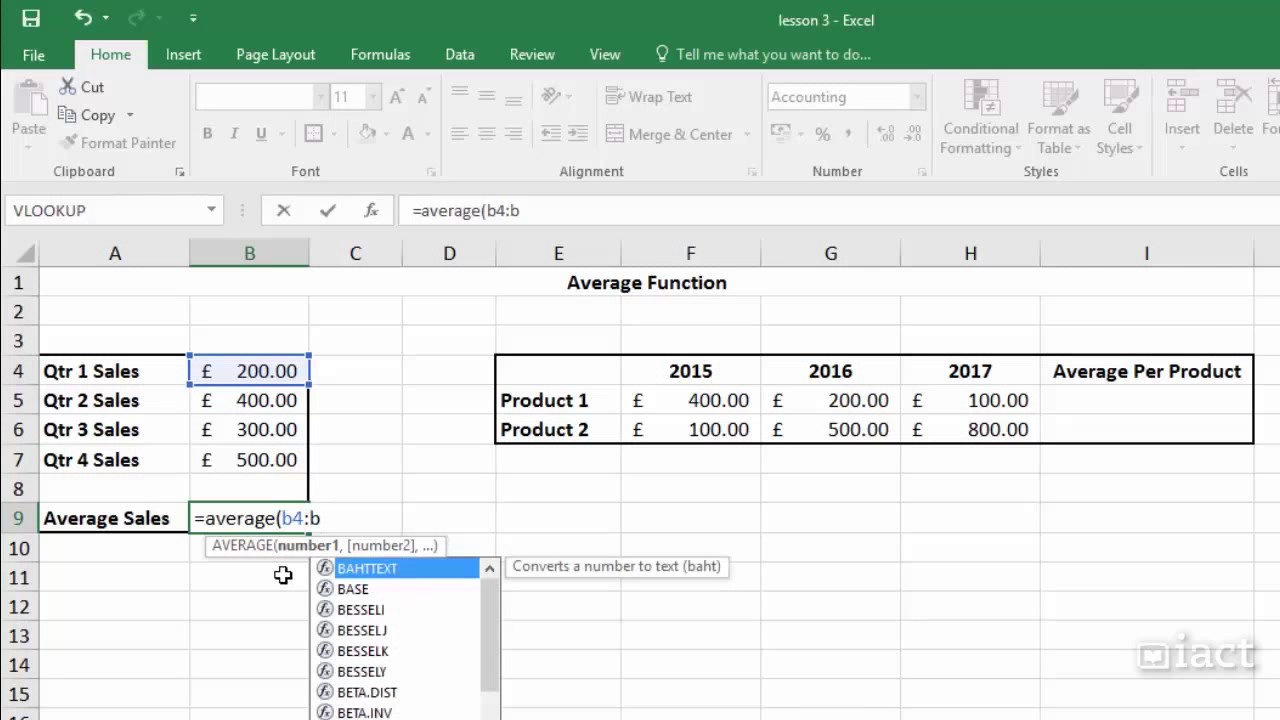 The average function excel 2016 formula and functions youtube the average function excel 2016 formula and functions freerunsca Images