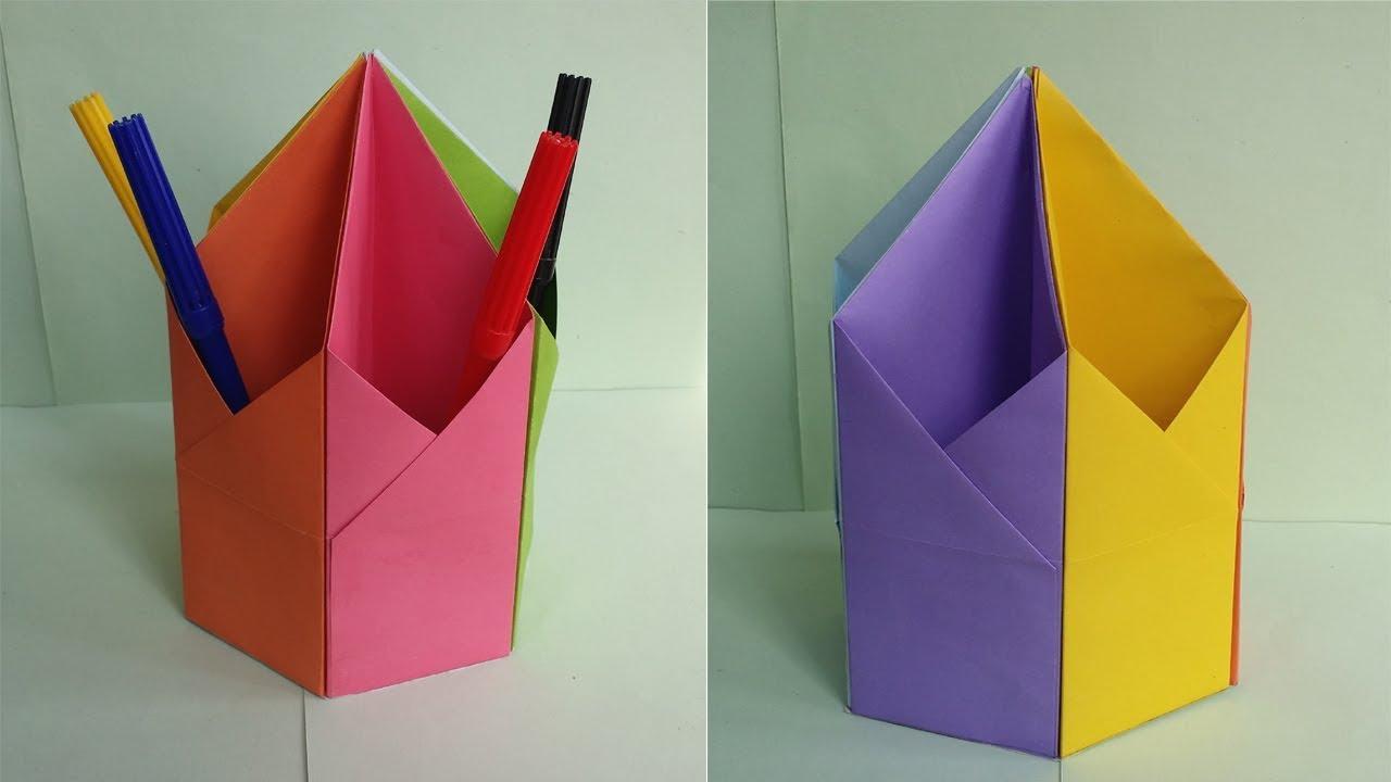 diy pen pencil holder how to make origami hexagonal pen pencil holder youtube. Black Bedroom Furniture Sets. Home Design Ideas