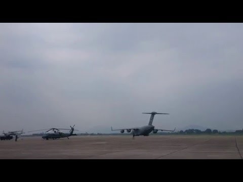 Marine One in Noi Bai International Airport, Vietnam