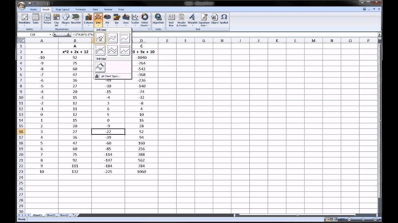 Excel - Graphing Math Functions - YouTube