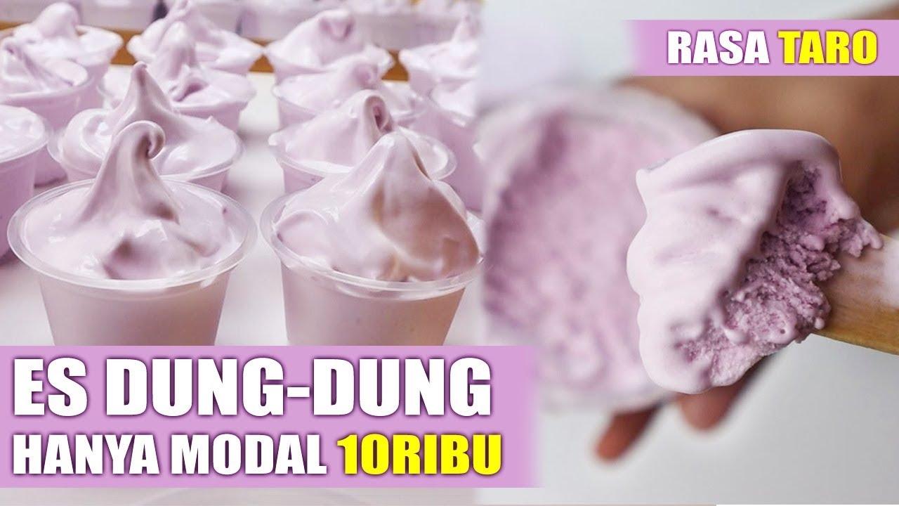 Hanya Modal 10ribu Jadi Es Krim Santan Dung Dung Rasa Taro Cara Membuat Es Krim Lembut Youtube