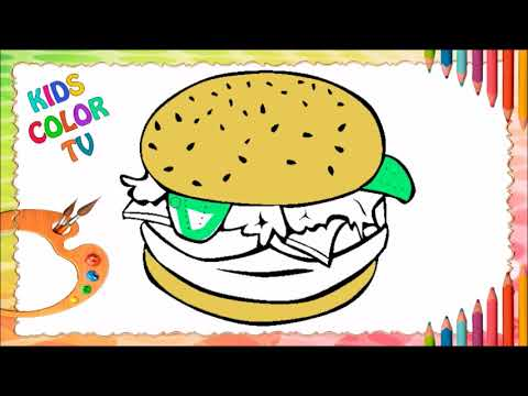 How To Draw And Paint A Hamburguer Food For Kids Como Desenhar E