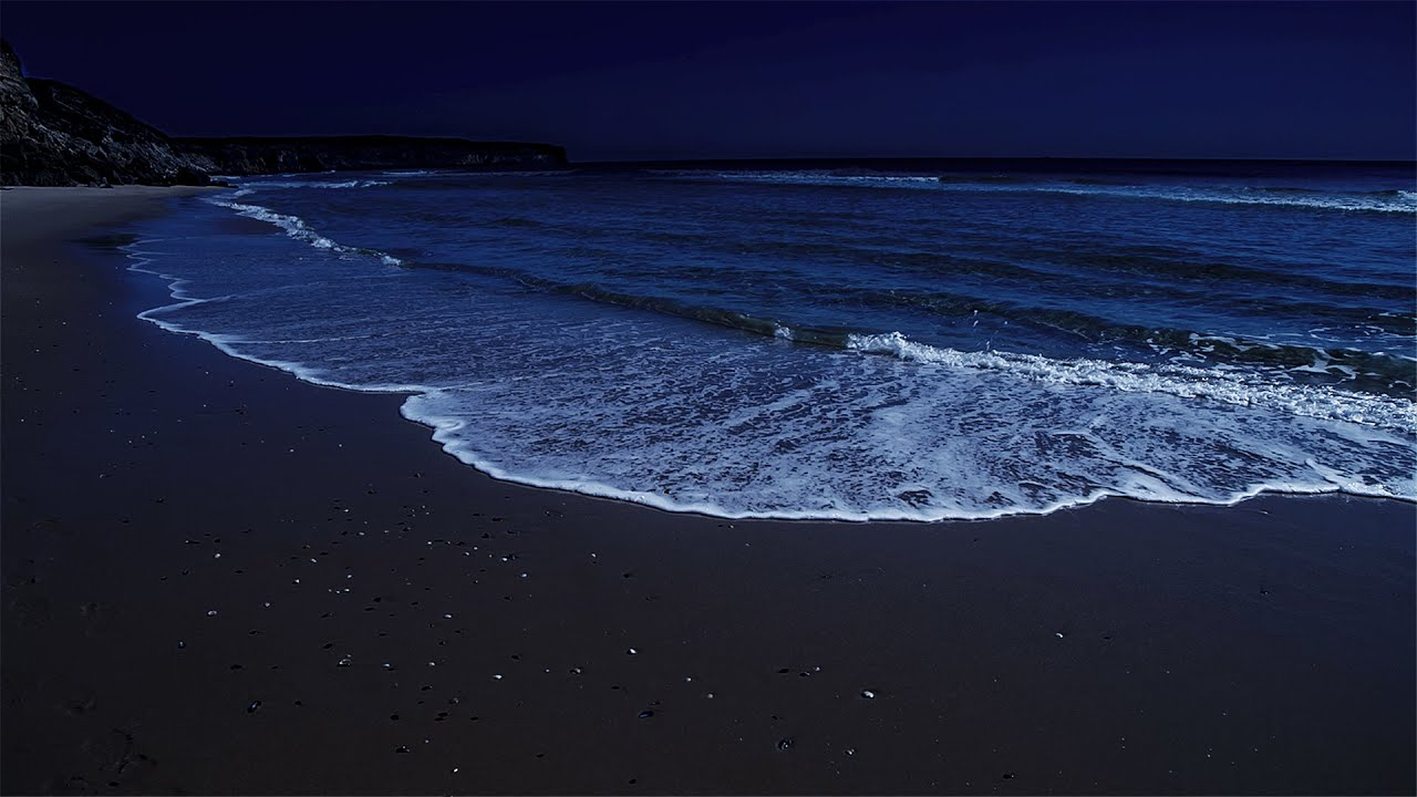Deep Sleep Video With Peaceful Waves At Night, High Quality Stereo Recorded on Praia dos Rebolos