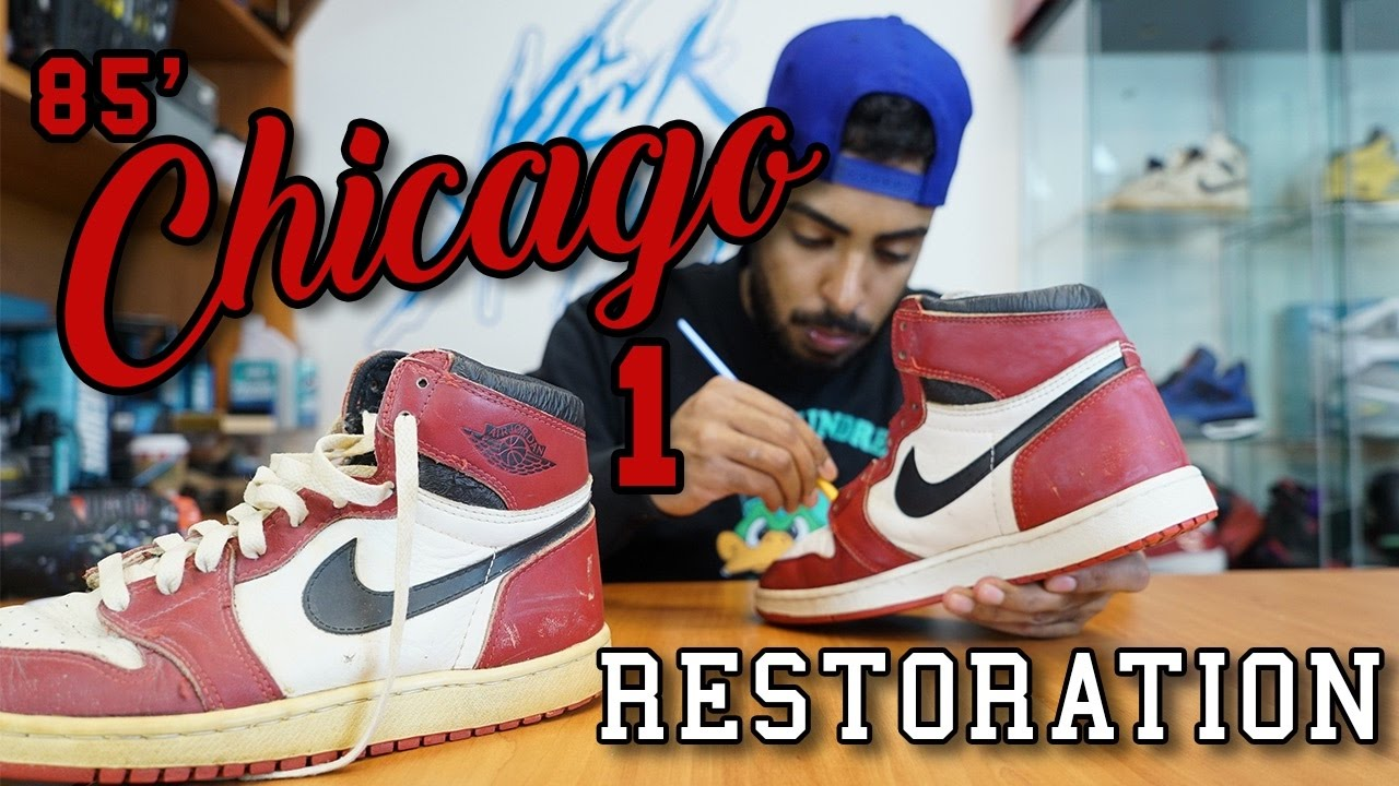 Original 1985 Air Jordan Chicago 1's Restoration by Vick Almighty - YouTube