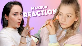 Reaction auf Zuschauer Makeup Routine