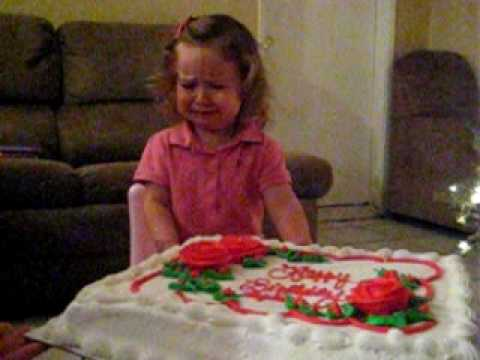 Crying Baby With Cake