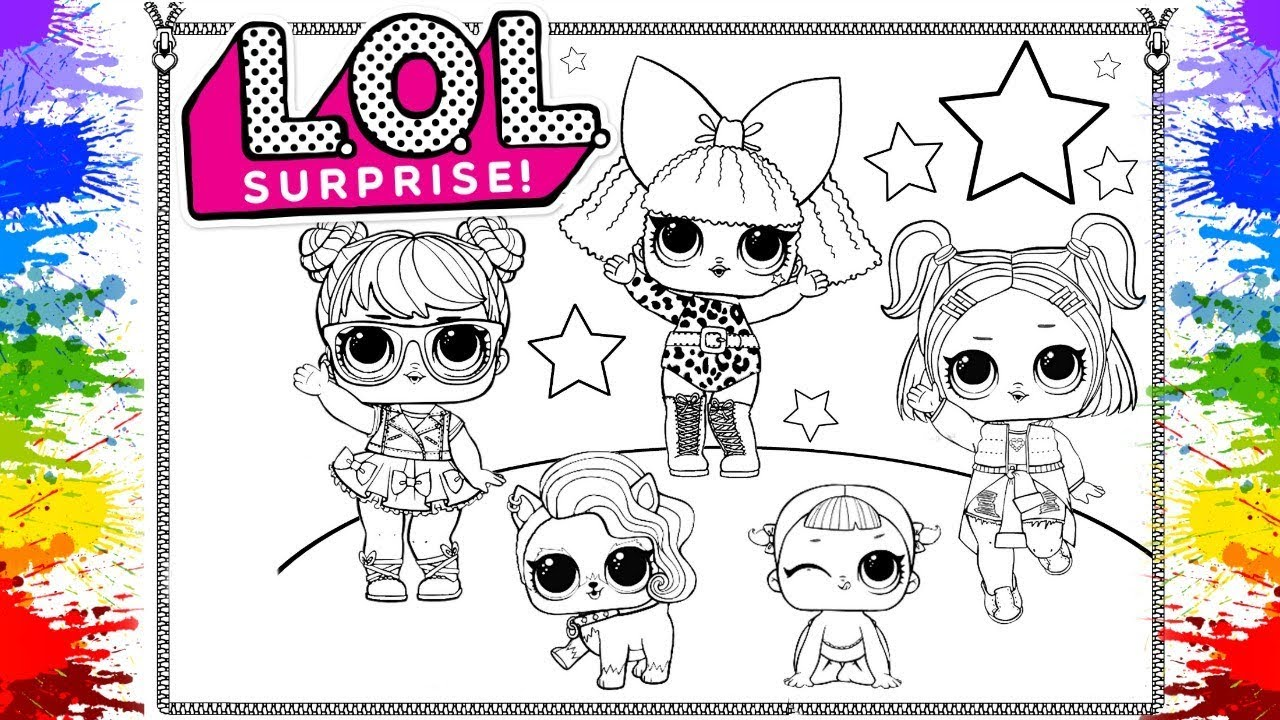 Learn colours with lol surprise dolls for girls lol surprise colouring page for children kids