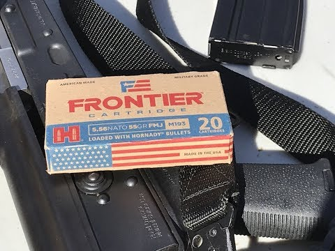 5 56x45mm, 55gr FMJ  M193 (FR200) Frontier by Hornady - YouTube
