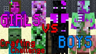 Monster School: Girls vs Boys Crafting Challenge - Minecraft Animation