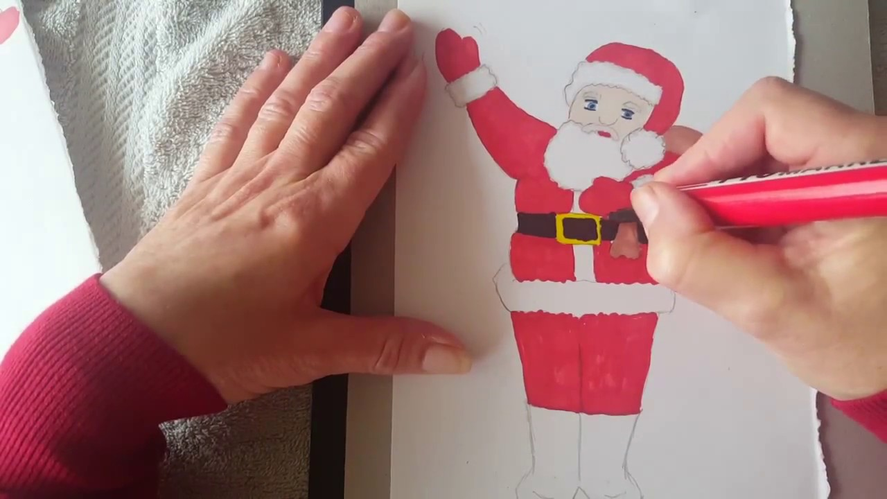 how to draw and colour father christmas youtube