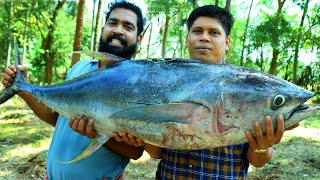 50 Kg BIG GIANT TUNA FISH CURRY | Cutting & Cooking Skill Village Food Recipe