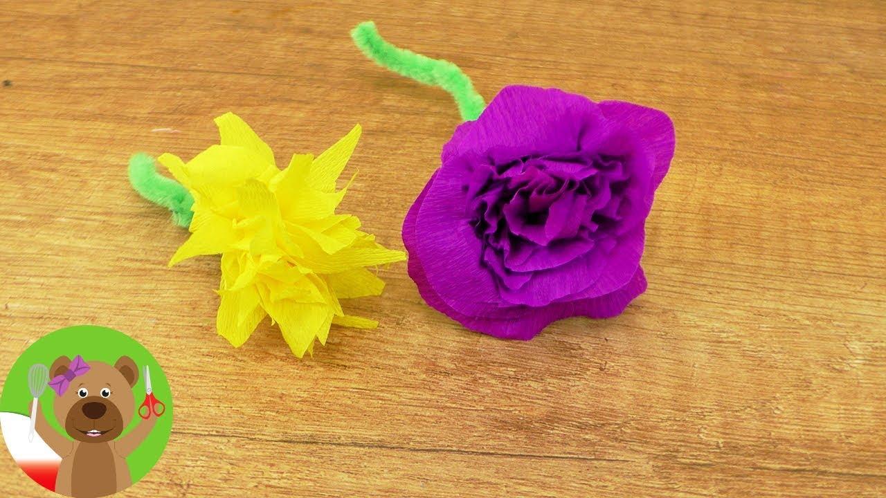 DIY wiosenne kwiatki   pięknie kwiatki z bibułki   DIY Kids