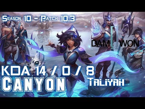 DWG Canyon TALIYAH Vs NIDALEE Jungle - Patch 10.3 KR Ranked
