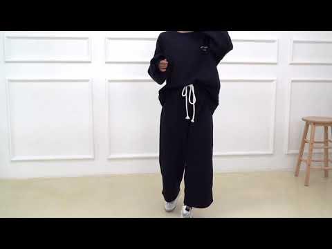 데일리 오버핏 빅사이즈 겨울 여자 기모 트레이닝세트 긴팔티셔츠 긴바지 D1006 - 블랙