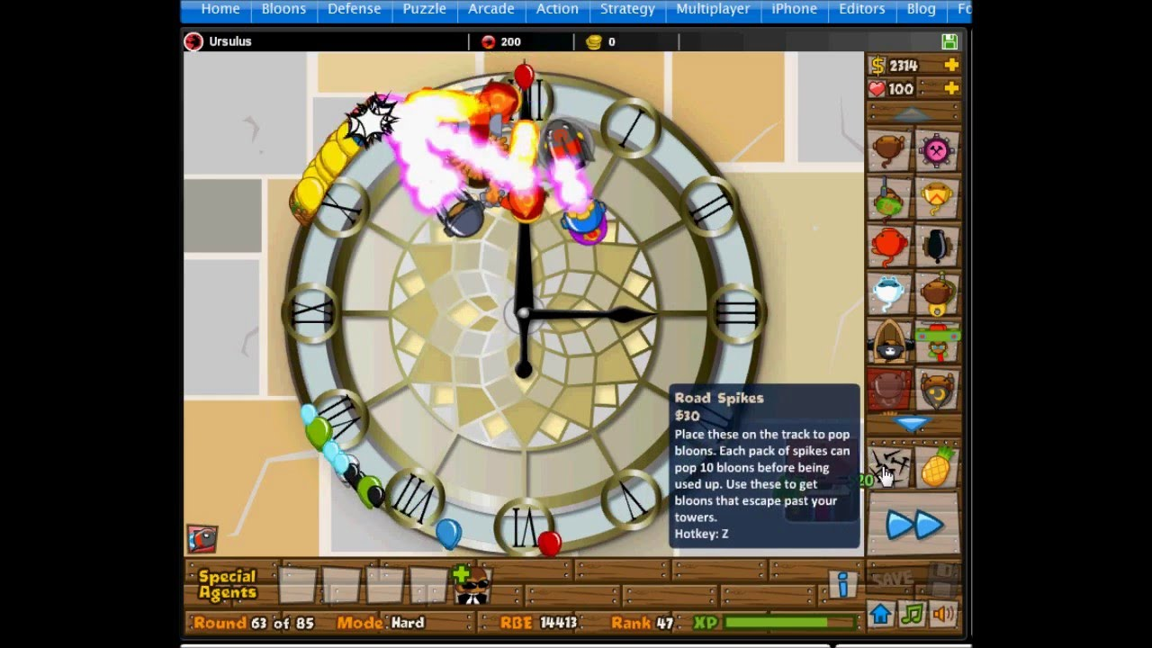 Kongregate bloons monkey - Bloons Tower Defense 5 Track 7 Clock Track Hard No Lives Lost