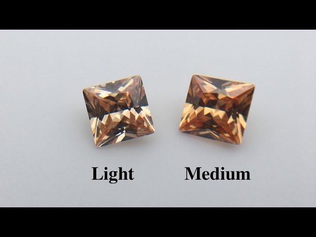 Champagne Color Cubic Zirconia Light color VS Medium Color shade