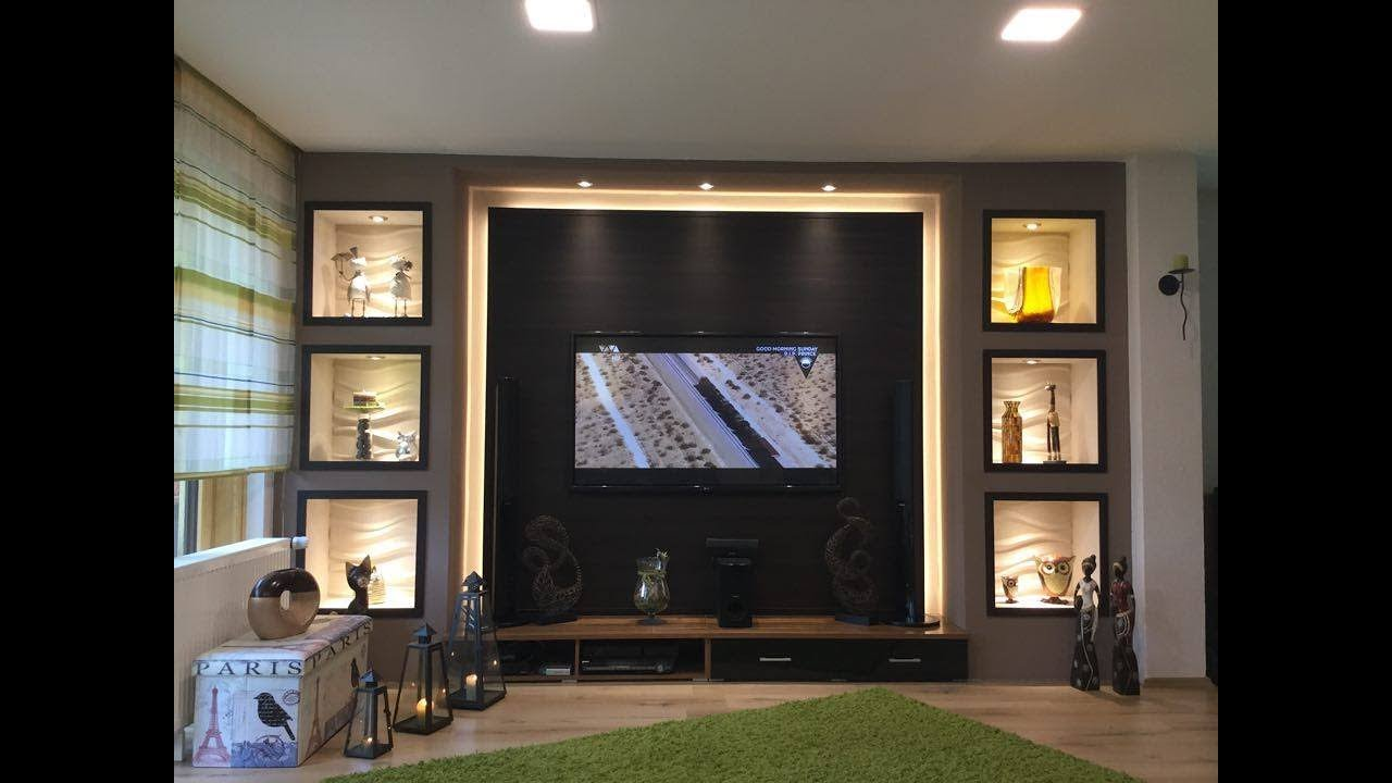 TV Wand selber bauen Wohnzimmer Living Room TV Wall  YouTube