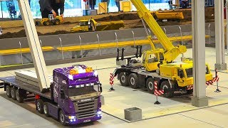 GREAT RC MODEL SCALE CRANE TADANO FAUN IN ACTION!! *RC HEAVY LOAD TRUCK SCANIA