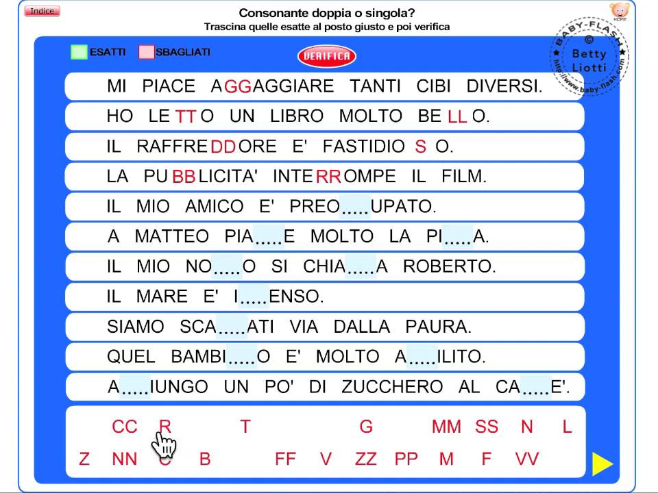 Italiano15 consonanti doppie youtube for Baby flash italiano doppie