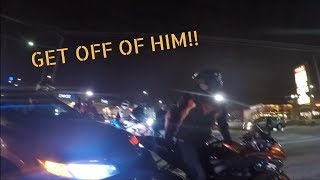 Biker RUN OVER by Civic and Front Tire Washout. 2 ACCIDENTS