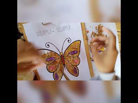 Membuat Kolase Kupu Kupu Dari Bahan Alam Daun Kering Bunga Layu Youtube