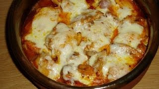Fırında mantarlı,kaşarlı tavuk-Güveçte tavuk-Chicken with mushrooms recipe