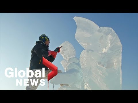 Ice sculptors display their handiwork at China's Harbin Ice Festival