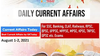 Current Affairs Today : August 1-2, 2021   Current Affairs in English by GK Today screenshot 1