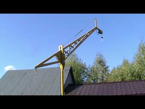 Как сделать бюджетный подъемный кран своими руками для постройки дома.