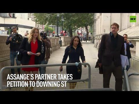 Julian Assange's partner delivers petition to No 10