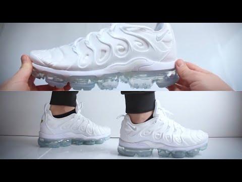 Nike Air Vapormax Plus Triple White Unboxing On Feet Youtube